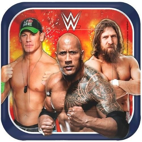WWE 7 Inches Square Plates [8 per Pack]