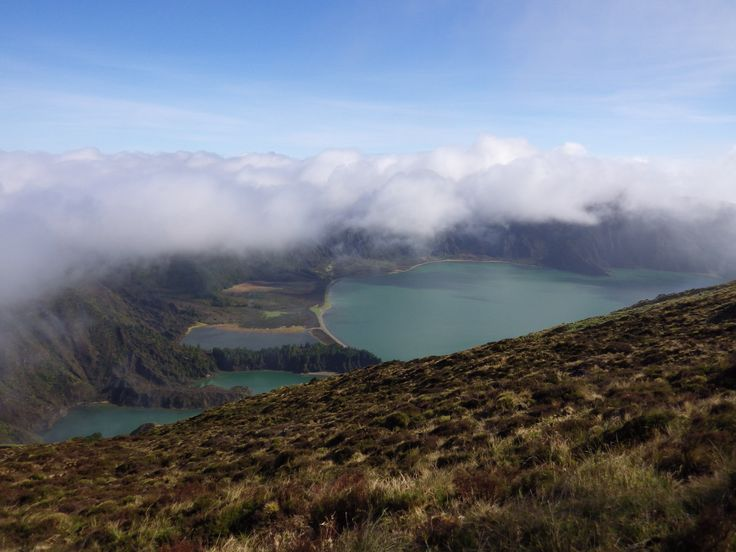 Lake Lagoa do Fogo - Once we reached the top the fog lifted & this is our view! Taken 2-18-14