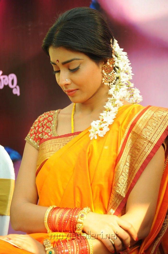 Gorgeous Actress Shriya Saran in Saree Photos at Pavithra Movie Launch Function held at Hyderabad.