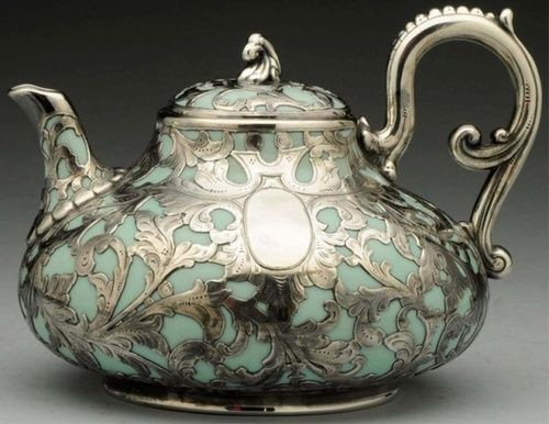 Vintage teapot in silver and blue