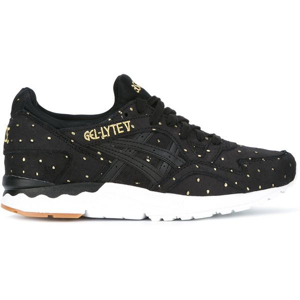 Asics Gel-Lyte V sneakers ($133) ❤ liked on Polyvore featuring shoes, sneakers, black, leather sneakers, black leather shoes, black shoes, asics and real leather shoes