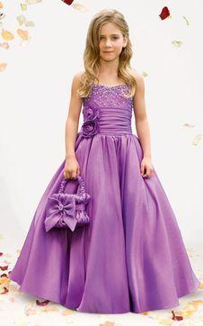 immagine 1 - Vestido de daminha Flores Saia longa A-Line Cetim