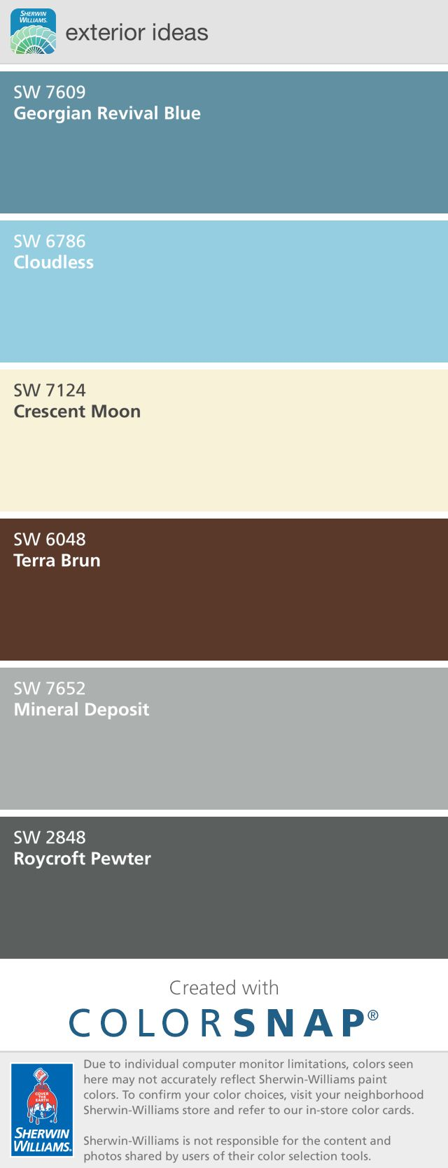 Sherman Williams exterior paint color ideas. Creamy yellow main color. Pewter accent in gables. Georgian blue shutters. Cloudless blue porch ceiling. The brown is the color of our existing roof.