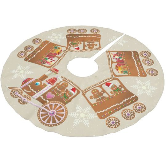 Colorful Gingerbread Christmas Train Cartoon Brushed Polyester Tree Skirt