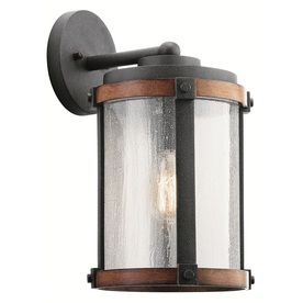 Kichler Barrington 16-In H Distressed Black And Wood Medium Base (E-26) Outdoor Wall Light 39496