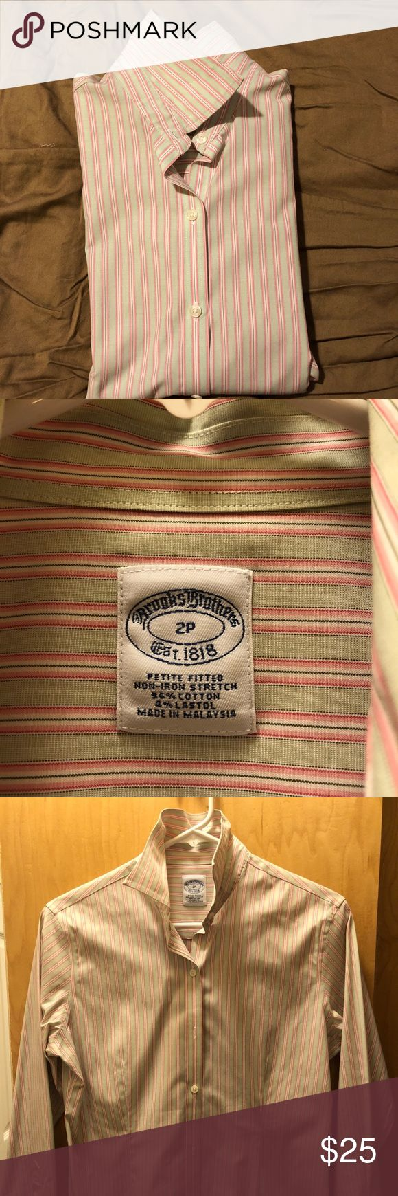 Brooks Brothers Fitted Non-iron shirt W Never been worn, received it as a gift. Great shirt for work. 100% machine washable and iron free. Save you the expensive trip to the dry cleaner.  Petite fitted! Brooks Brothers Tops Button Down Shirts