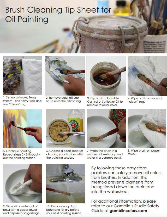 Oil Painting Guide For Schools White Paper Cleaning Oil Paint Brushes Cleaning Paint Brushes Oil Paint Brushes
