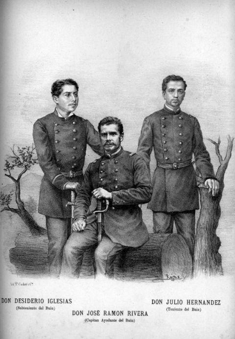 Subteniente Desiderio Iglesias, Capitán Juan Ramón Rivera y Teniente Julio Hernández, todos del regimiento Buin