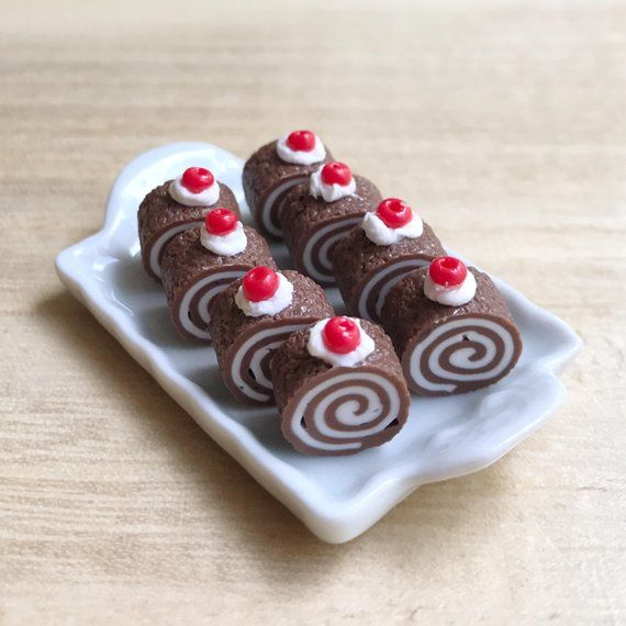 Dolls House Cake 4 x Miniature Chocolate Swiss Roll  1//12 scale handmade