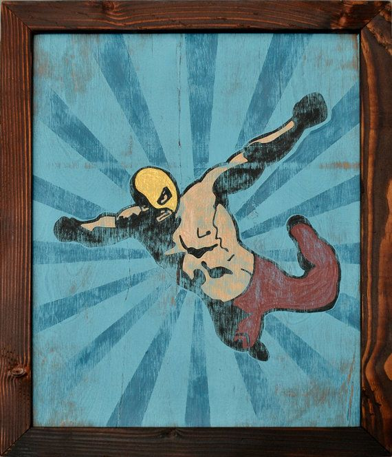 Flying Lucha Libre Framed Painting Mexican Wrestler by Tabooisland