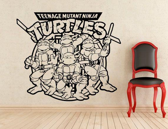 Tartarughe Teenage Mutant Ninja adesivi parete vinile decalcomanie casa affreschi degli interni arte decorazione (109z)