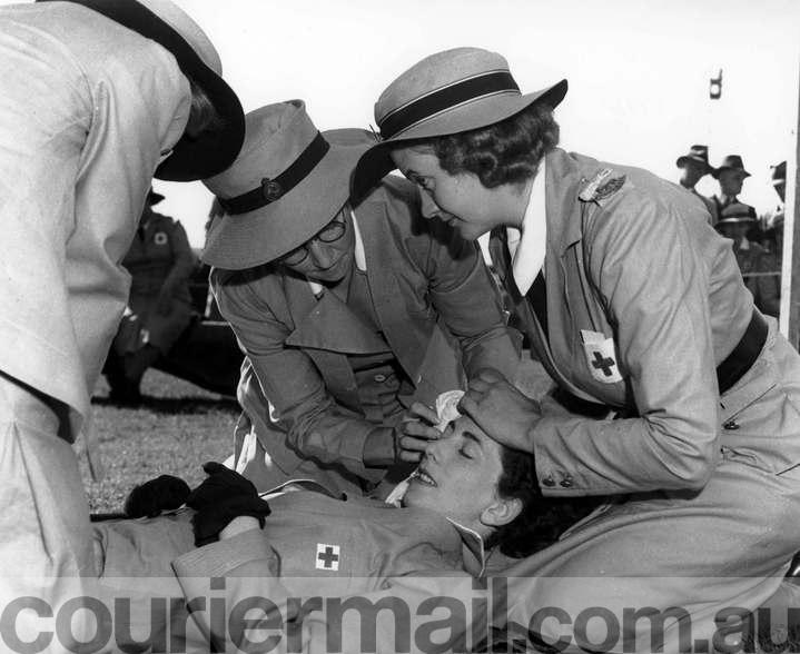 News World War 11 Brisbane . Women at War .11/5/1941 VAD'S doing their first aid tests. Ne/No A77396 The Courier-Mail Photo Archive.
