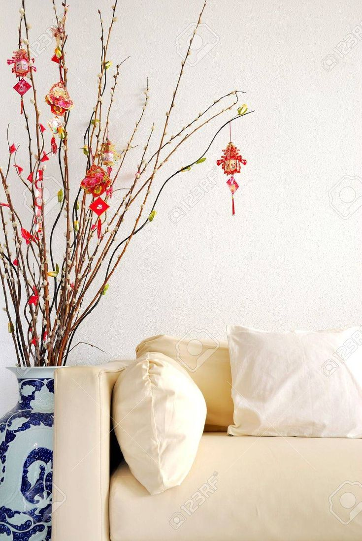 Chinese Lunar New Year decoration with modern sofa. For