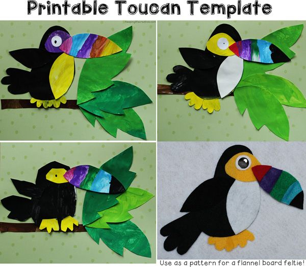Crafts for Kids | Toucan Template: fun paper-pieced craft for a Rain Forest theme. Also makes a great pattern for a flannel board feltie. $