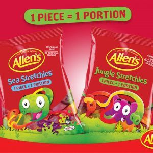 A bulk box of 12 bags of Allens Jungle Stretchies.