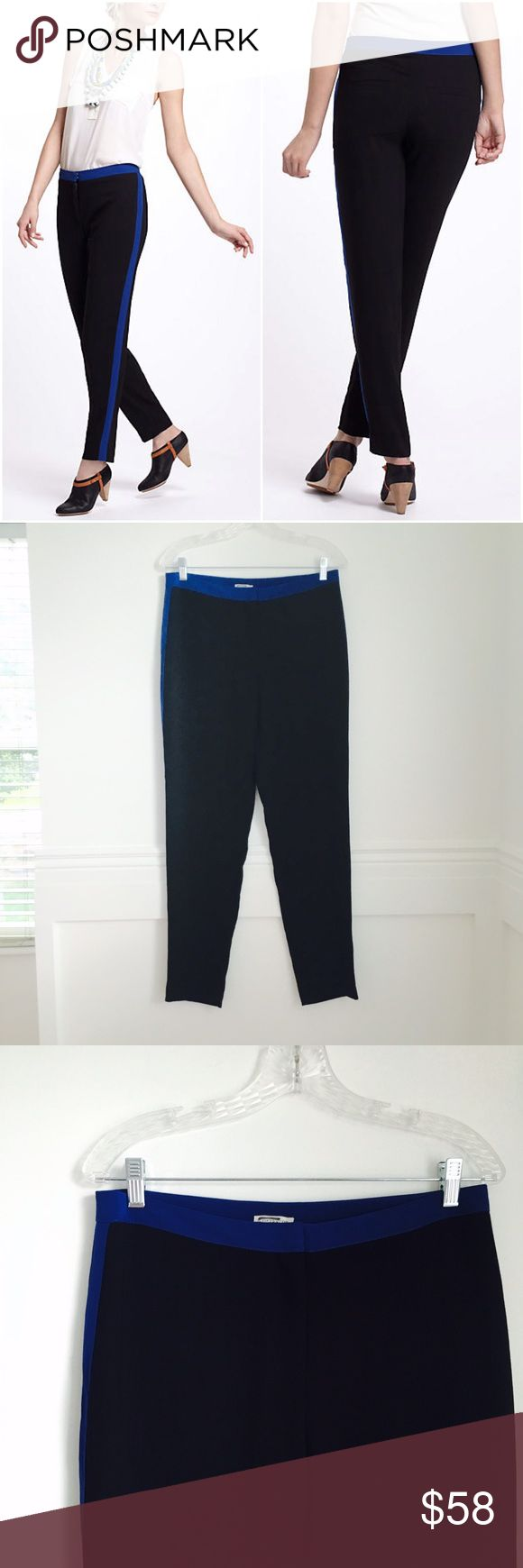 Leifsdottir trousers Crepe Tuxedo Trousers by Leifsdottir. Straight fitting black silky pants with cobalt stripes along the sides and waistline. Back welt pockets. Polyester and spandex. Crossed out tags. NEW WITH TAGS (Store tag missing, extra button pouch still attached). Size 6. Anthropologie Pants