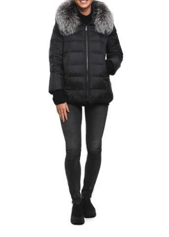 Jessimara 'Lorraine' Black Jacket With Silver Fox Detachable Fur hood