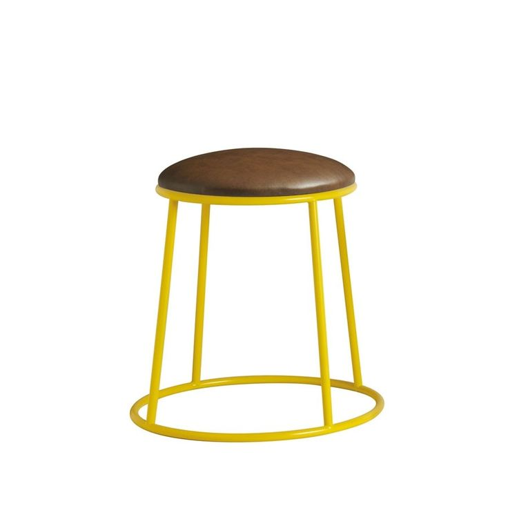 MAX Low Stool – Fully Upholstered – Yellow – ZA.606ST    Industrial Designer Stool with upholstered seat  Our popular MAX stools are now available fully upholstered in premium Lascari faux leather in Rustic Brown. Available in black, red, yellow or clear lacquered for powder coating in a colour of your client's choice.  Dimensions excl seat pad Height 50cm, Width 47cm, Depth 47cm, Seat Width 38cm