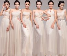 Longo bege vestidos dama de honra de comprimento fora do ombro apliques de um ombro(China (Mainland))