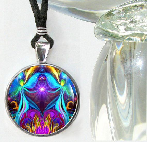 Twin Flames Necklace Violet Flame Pendant Reiki Energy Jewelry