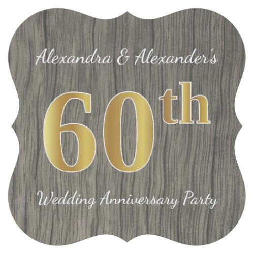 Rustic, Faux Gold 60th Wedding Anniversary Party Paper Coaster