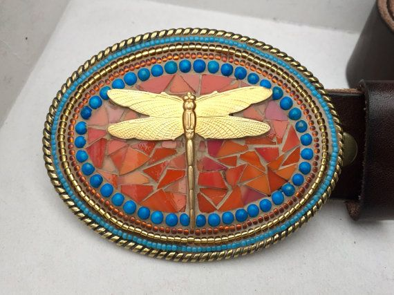 Mosaic Belt Buckle Dragonfly Buckle Brass Belt by camillaklein