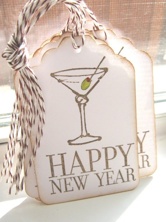 Happy New Year Gift Tags Martini Gift Tags Etsy Happy New Year Gift New Year Gifts Happy New Year Wishes