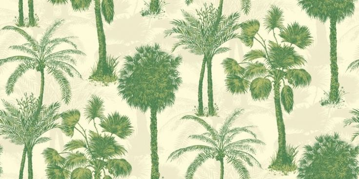 Coconut Grove Emerald (950608) - Sophie Conran Wallpapers - Evocative palm trees, with a delicate subtle mica shadow effect.  Shown in the emerald green on opal white colourway.  Paste the wall. Please request sample for true colour match.