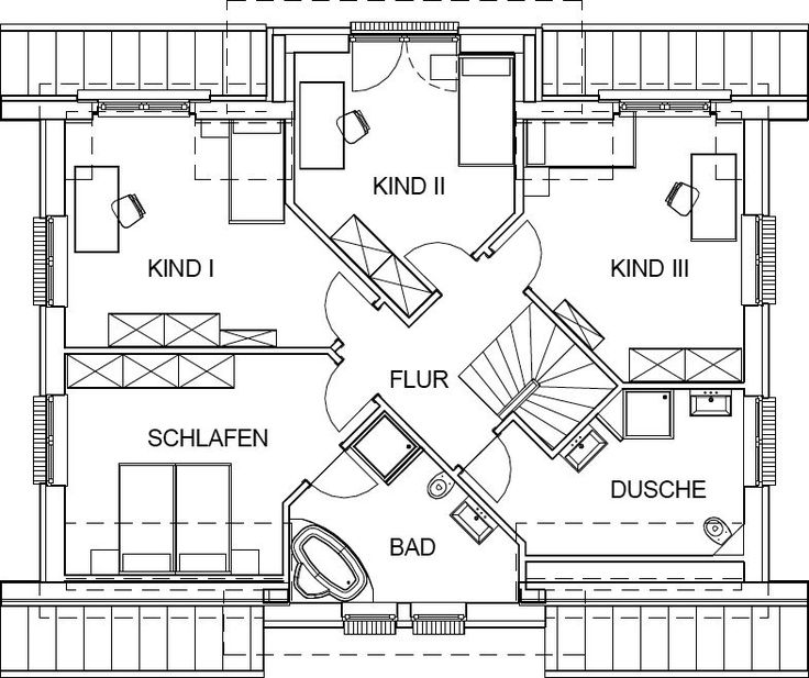 Country house floor plan attic with 90,59 m² of living space   – Architektur