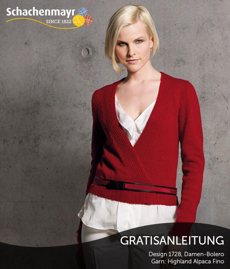 Rot-Weiß - eine spannende Farbkombination für den kurzen, leuchtenden Wickelpullover in Schachenmayr #HighlandAlpacaFinoWolle - einfach aufsehenerregend.