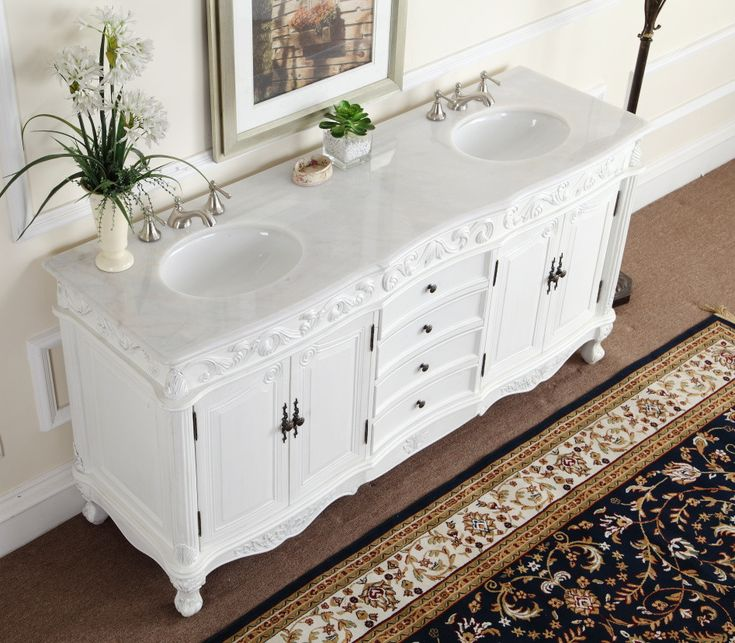 Carrara marble tiles custom made bathroom vanity www - Antique white double sink bathroom vanities ...