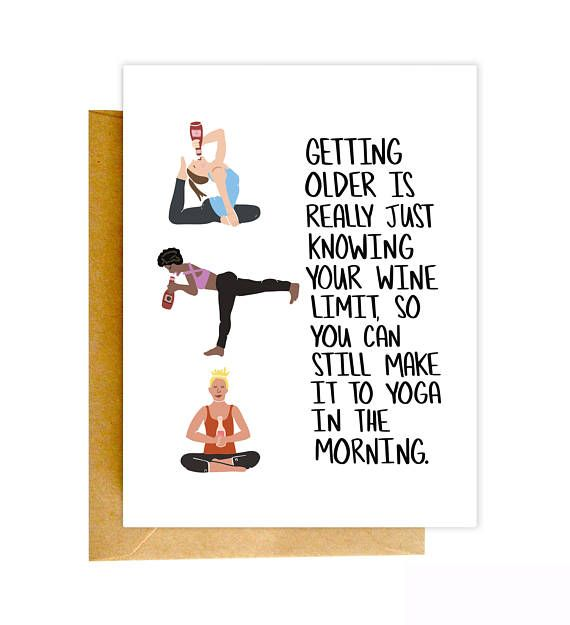 Funny Birthday Card Yoga