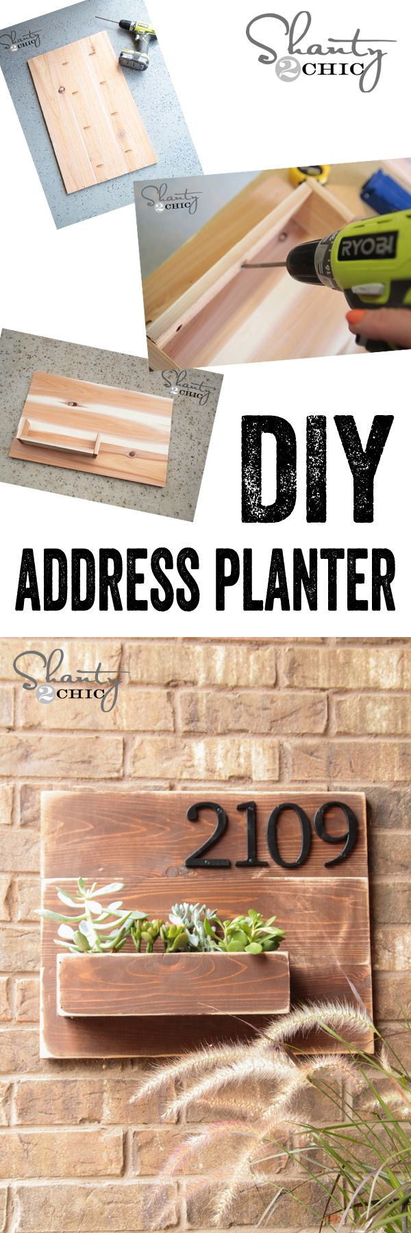 LOVE this wall planter with address numbers.