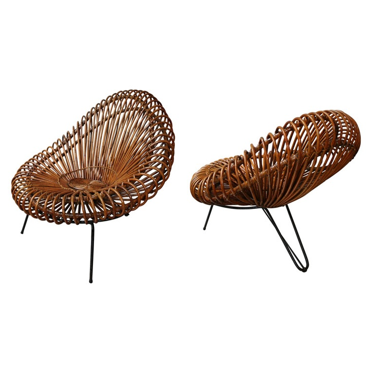 vintage wicker chair by Franco Albini