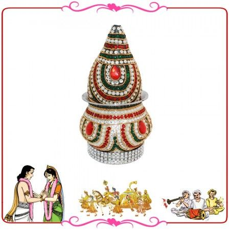 Kalash is used in puja, marriage and auspicious occassions. It also has decorative gemstone and motifs.   In Hindu culture, marriage is one of the most important sanskaras or rites of passage that a Hindu observes during his or her lifetime. Briefly stated, the marriage or the Vivaah Sanskar is the transition from the first stage of life, devoted to education and learning, to the second stage of life, devoted to building a household and raising children.