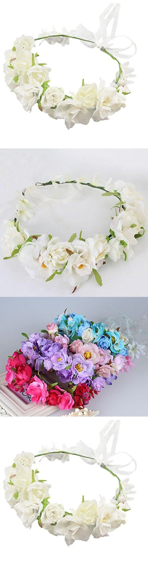Vivivalue Camellia Berries Flower Wreath Headband Crown Garland with Ribbon Boho for Festival Wedding White