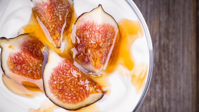 Greek Party Food: luscious figs matched with Greek yogurt and honey.