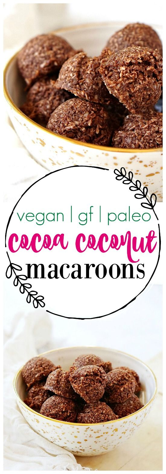 These chocolate coconut macaroons are vegan, paleo, and gluten-free!