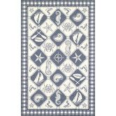 Found it at Wayfair - Colonial Blue/Ivory Nautical Novelty Rug