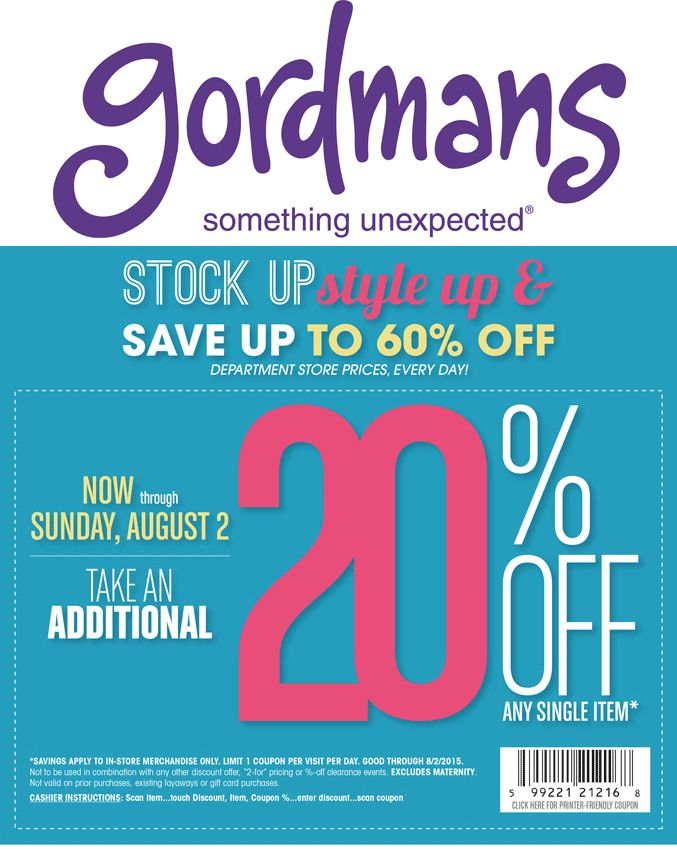 Pinned July 25th: 20% off a single item at #Gordmans #coupon via The #Coupons App