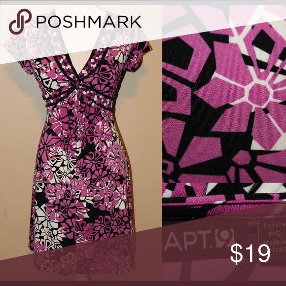 🎈SALE🎈APT9 Purple & Black pattern petite dress Patterned dress with purple, black & white tie back waist very flattering Apt. 9 Dresses