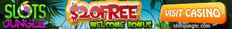 Slots Jungle Casino uses RTG slots software. Slots Jungle also offers video slots, poker, craps, roulette, and blackjack, offers quick payouts and fair play Get $20 Free No Deposit required.