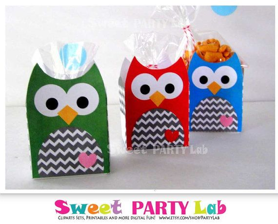 Printable Favor Box Owl Party Favor BoxPrintable Owl by PartyLab