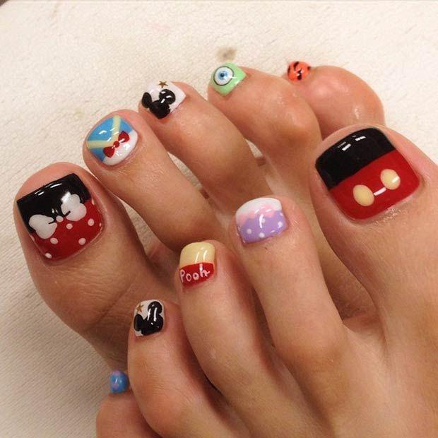 21 Super Cute Disney Nail Art Designs - Best 25+ Disney Toes Ideas On Pinterest Disney Nail Designs