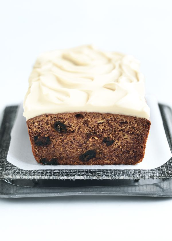 Sweet chewy dates mixed into my banana bread recipe with maple cream cheese icing is a lovely afternoon snack.