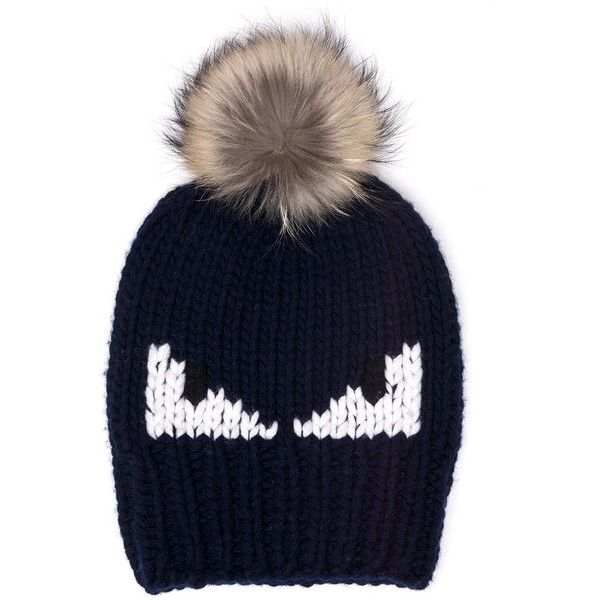 Fendi Monster Fur-Pom Wool Hat (790 CAD) ❤ liked on Polyvore featuring men's fashion, men's accessories, men's hats, apparel & accessories, mens pom pom hat, mens wool hats and mens fur hats