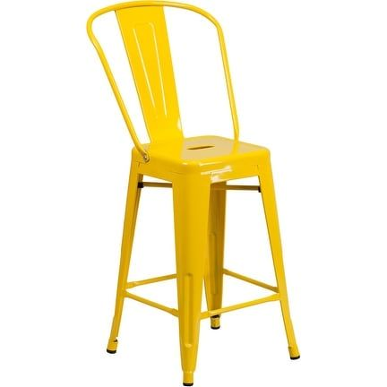 iHome Collins 24'' High Yellow Metal Indoor/Outdoor/Patio/Bar Counter Height Stool w/Back