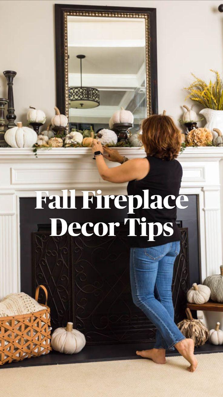 Fall Fireplace Decor, Fall Mantel Decorations, Thanksgiving Decorations, Mantel Ideas, Decor Ideas, Fun Ideas, Cozy Living Rooms, Living Room Decor, Porch Decorating