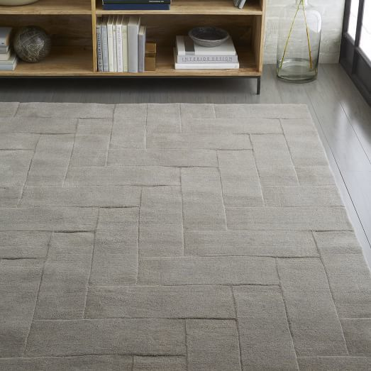 west elm Solid Angled Basketweave Wool Rug - Platinum