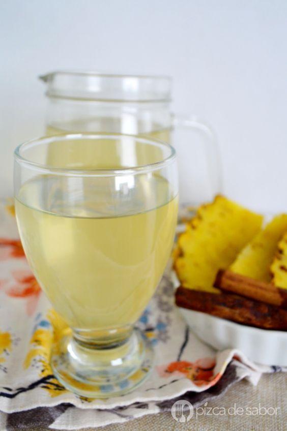 Agua para desinflamar o agua de piña y canela www.pizcadesabor.com